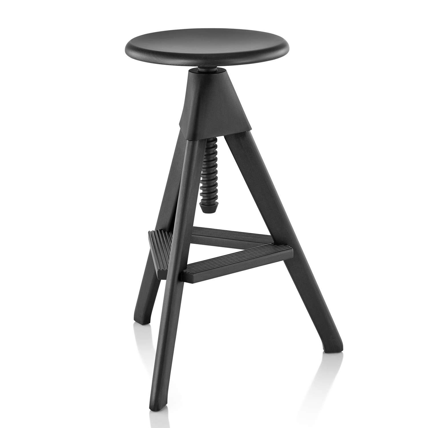 Tom Swivel Stool - The Wild Bunch Painted Black Seat and Frame, Matt Black Joint and Screw
