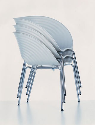 Tom Vac Chair 04 white, 04 glides for carpet, chromed
