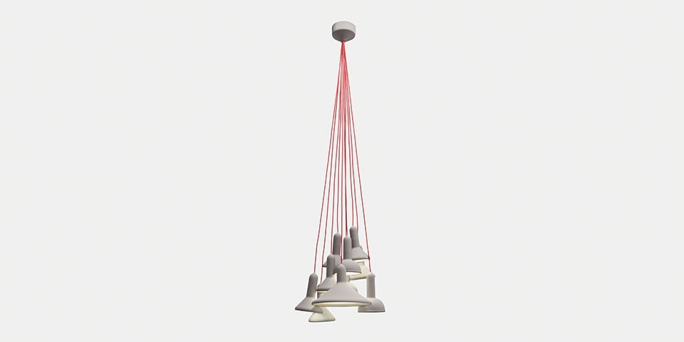 Torch Pendant Light, Bunch - S10 Signal Grey Shade with Red Cable