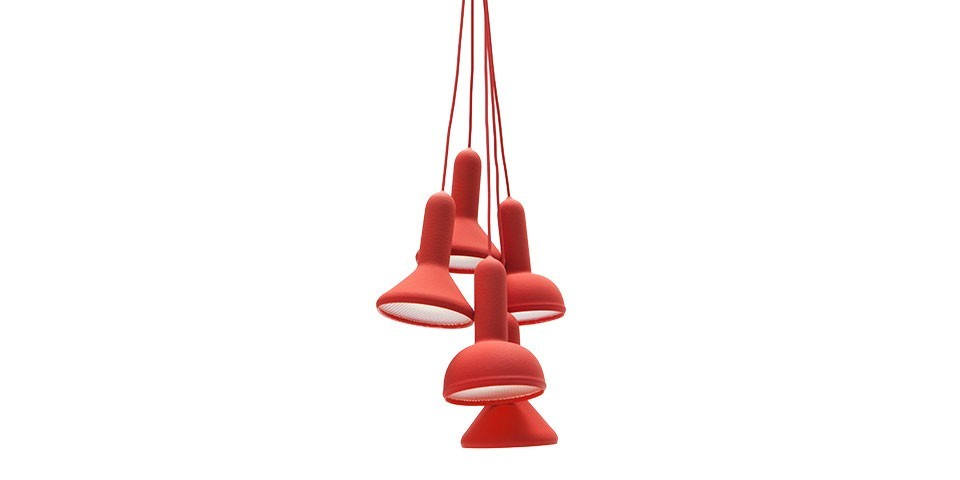 Torch Pendant Light, Bunch - S5 Red Shade with Red Cable