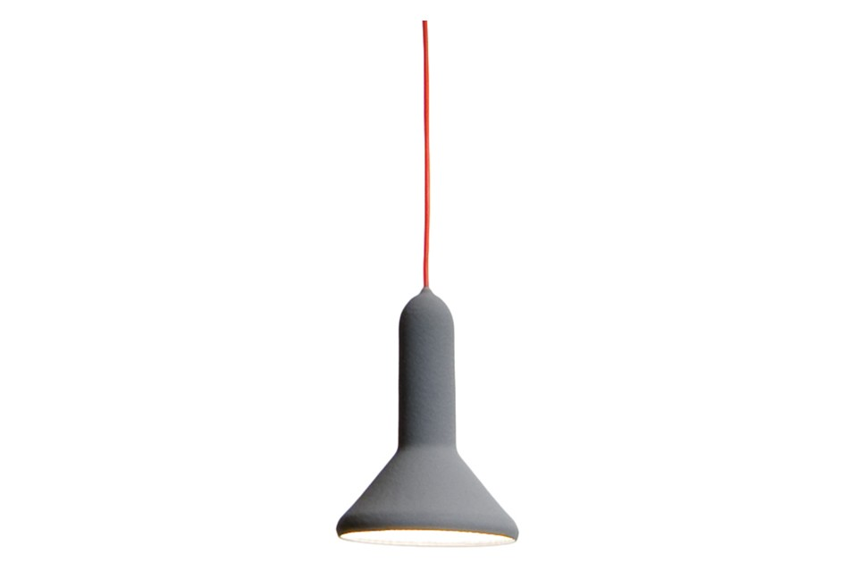 Torch Pendant Light - S1, Cone Signal Grey Shade with Red Cable