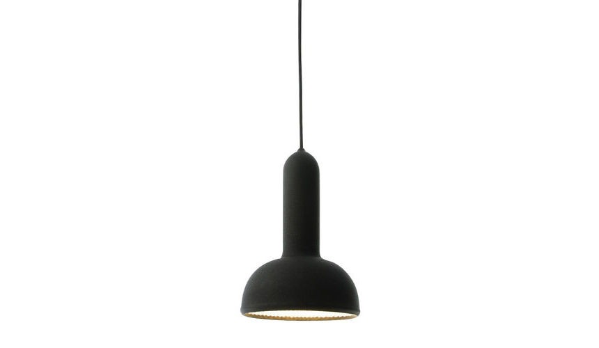 Torch Pendant Light - S2, Round Black Shade with Black Cable