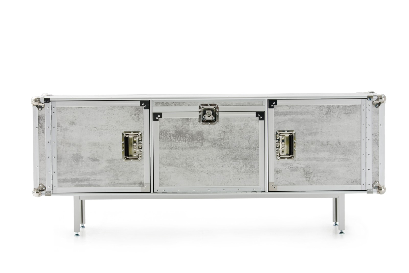 Total Flightcase Sideboard White Concrete, Long