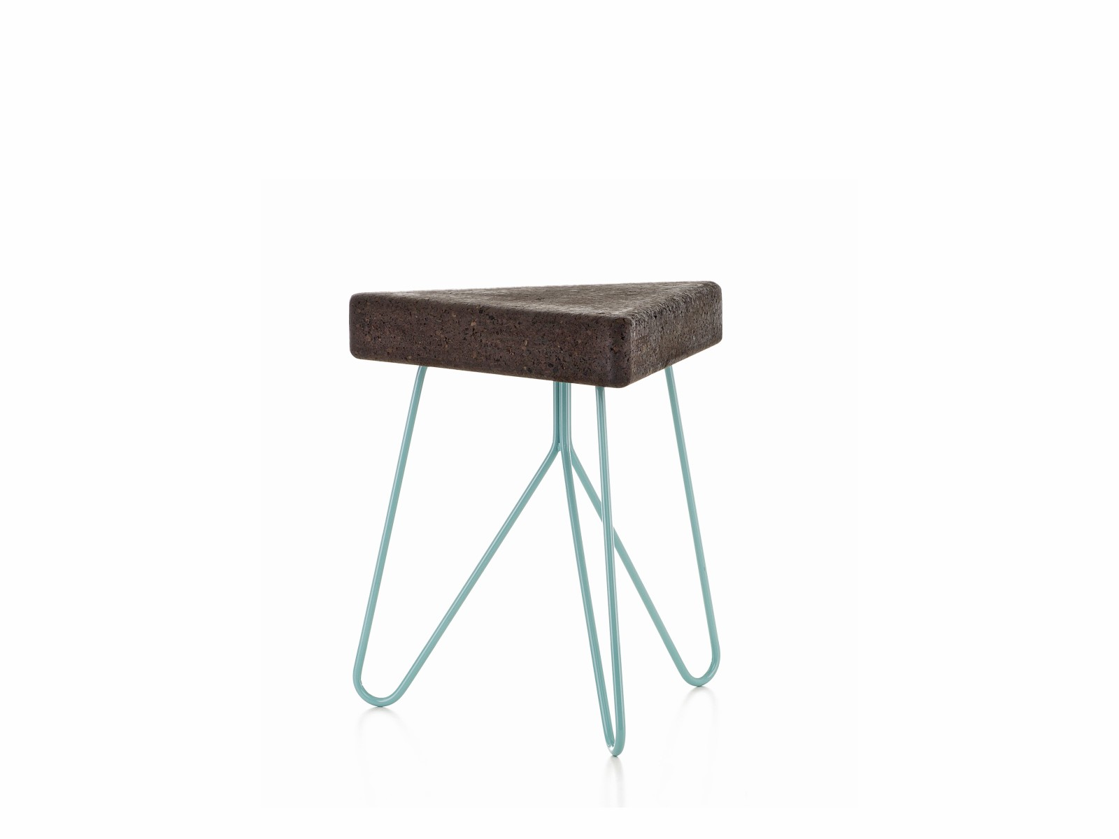 Três stool/table Dark Cork with Blue Legs