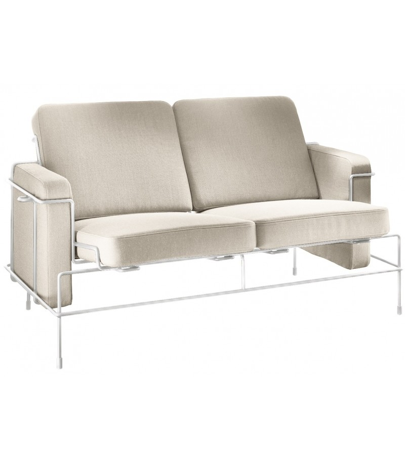 Traffic 2 Seater Sofa Steelcut Trio 2 205 Fabric and White Frame
