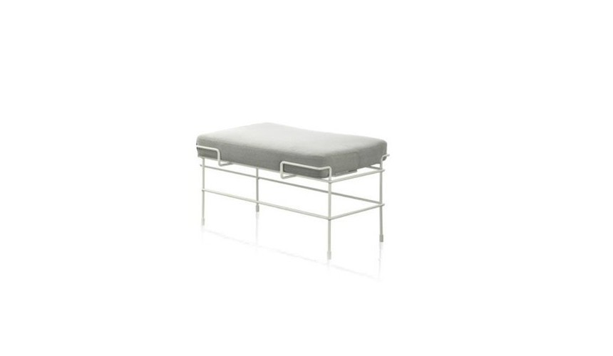 Traffic One Seater Bench Steelcut Trio 2 133 Fabric and White Frame