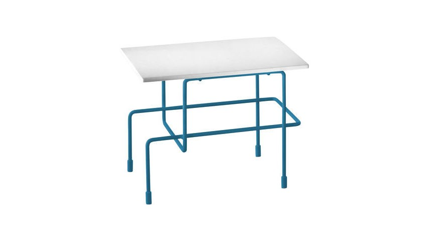 Traffic Side Table - 35 x 45 cm Green Blue Frame White Top, Indoor