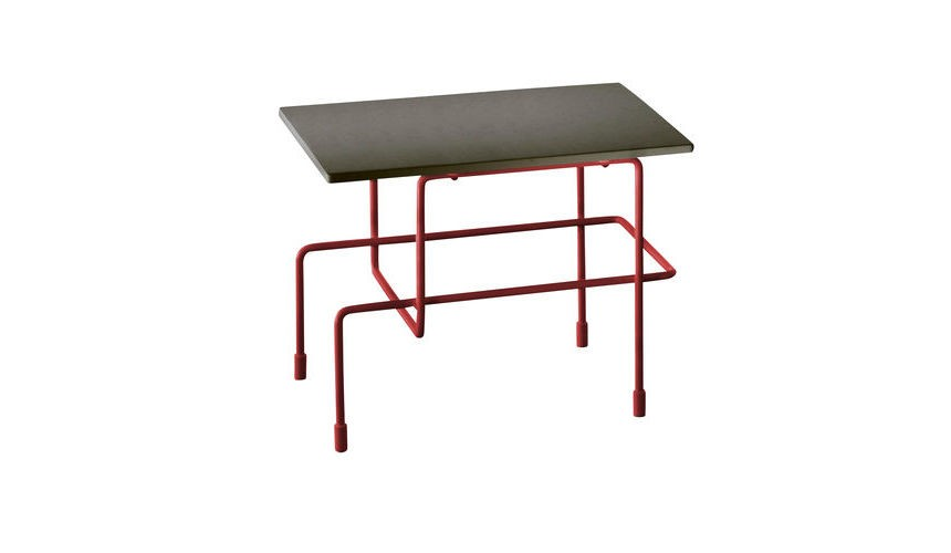 Traffic Side Table - 35 x 45 cm Signal Red Frame Grey Anthacite Top, Indoor