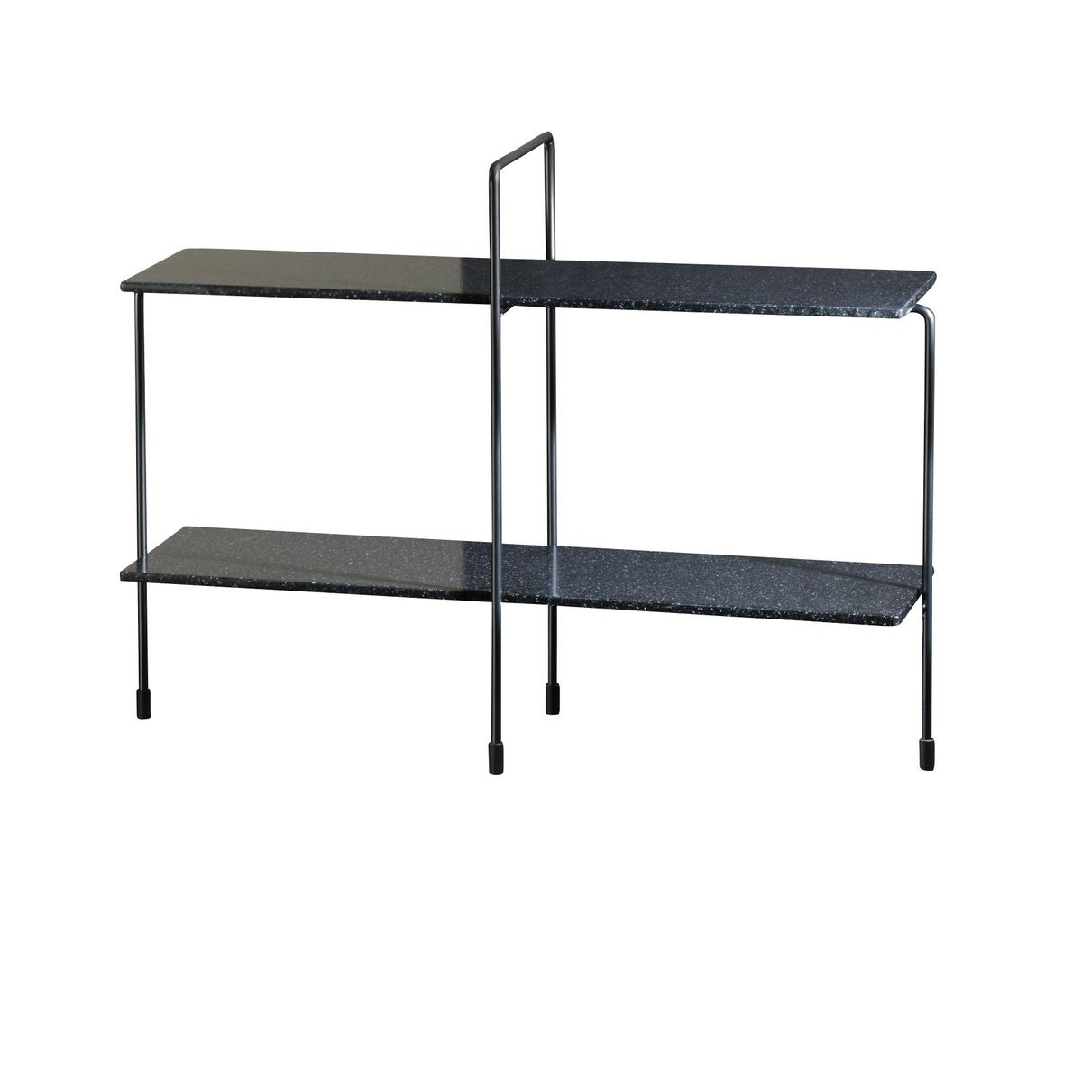 Traffic Side Table - 64 x 81 cm Black Frame Grey Anthacite Top, Indoor