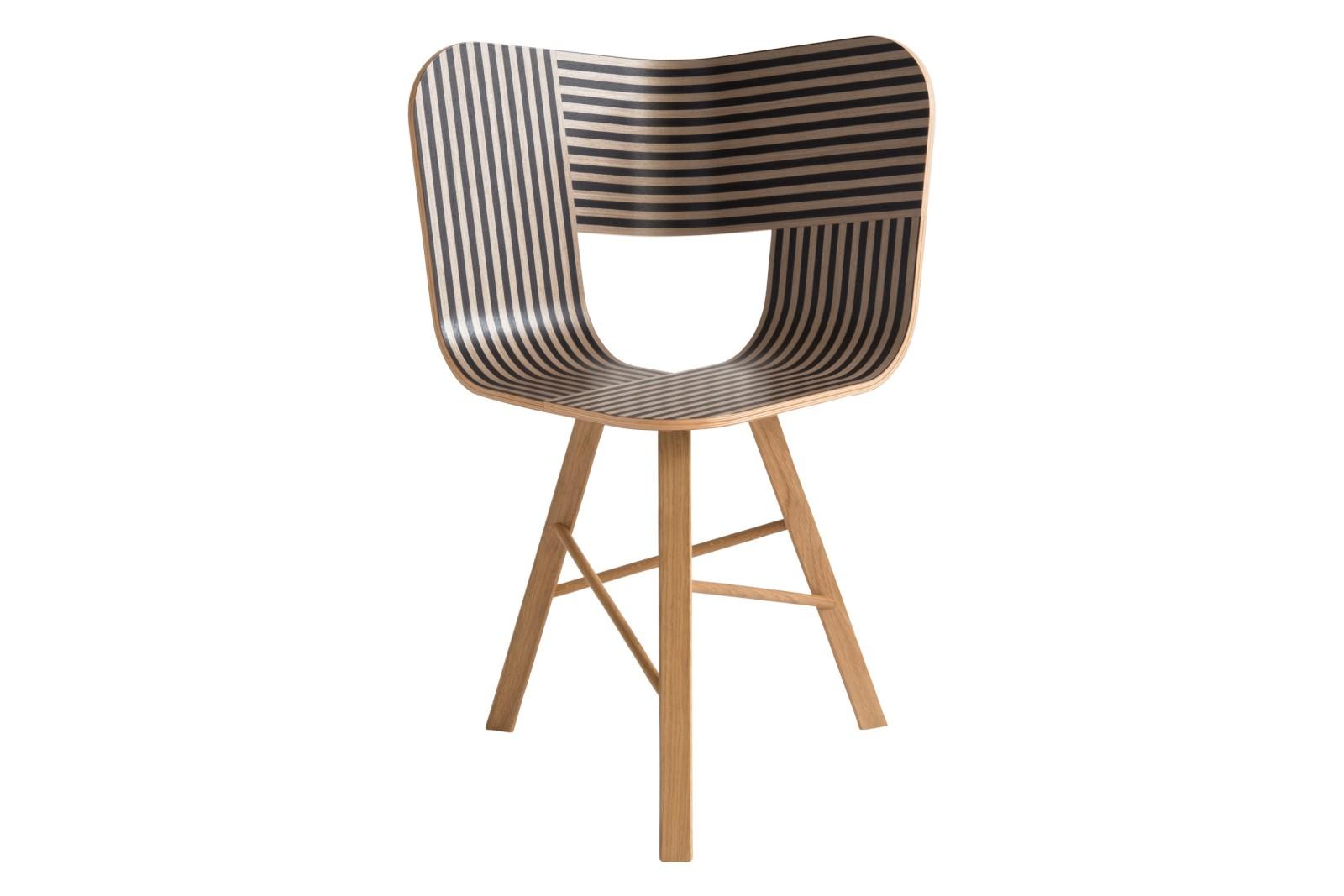 Tria Three Legged Dining Chair Black, Ivory