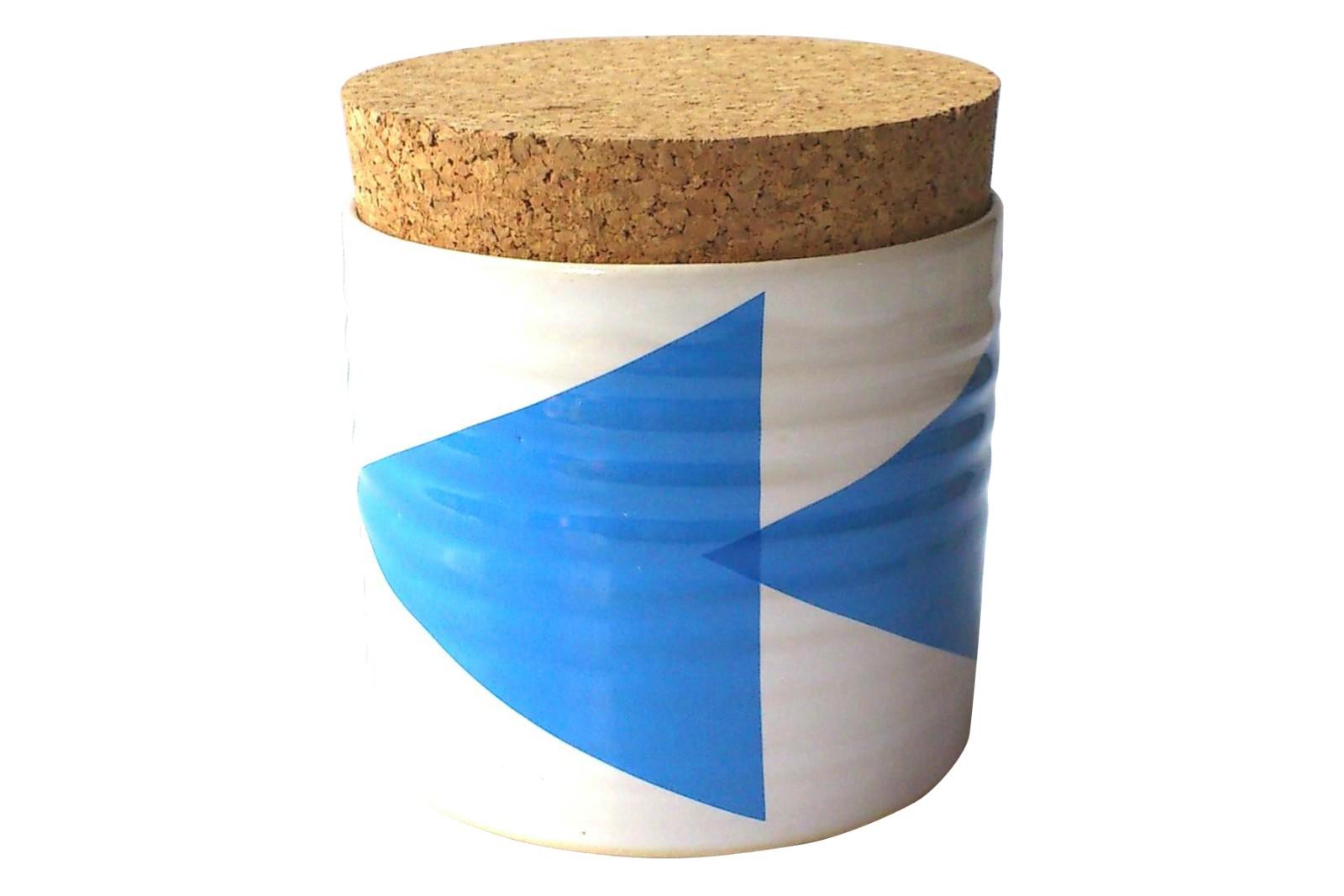 Triangles Sugar Jar Blue