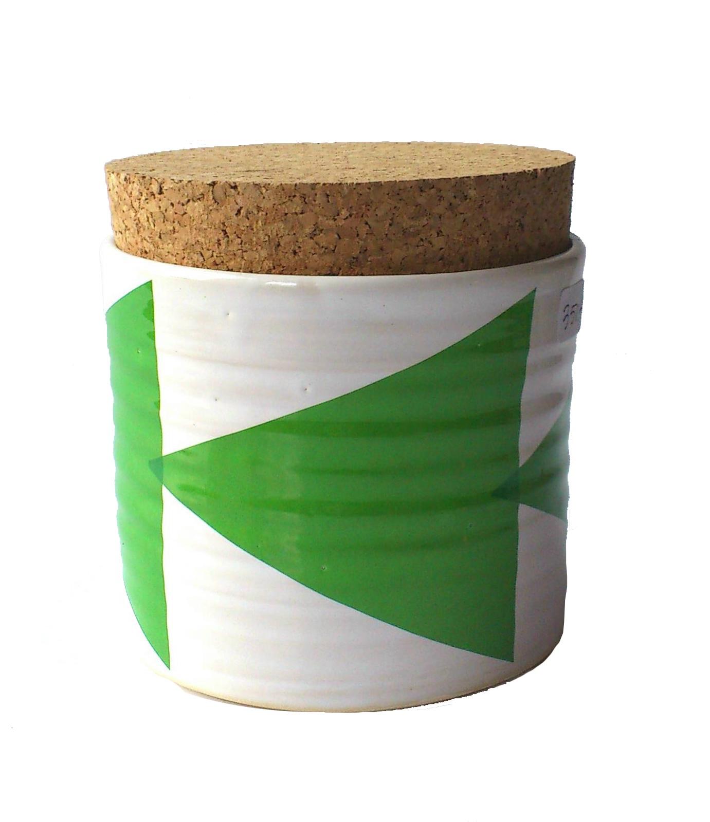 Triangles Tea Jar Green