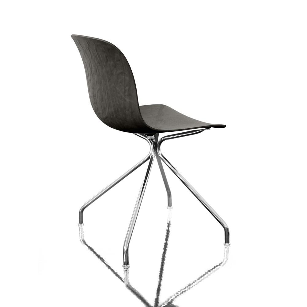 Troy Chair - 4 Star Base Chromed Frame, Black Beech Seat, Non-Swivel
