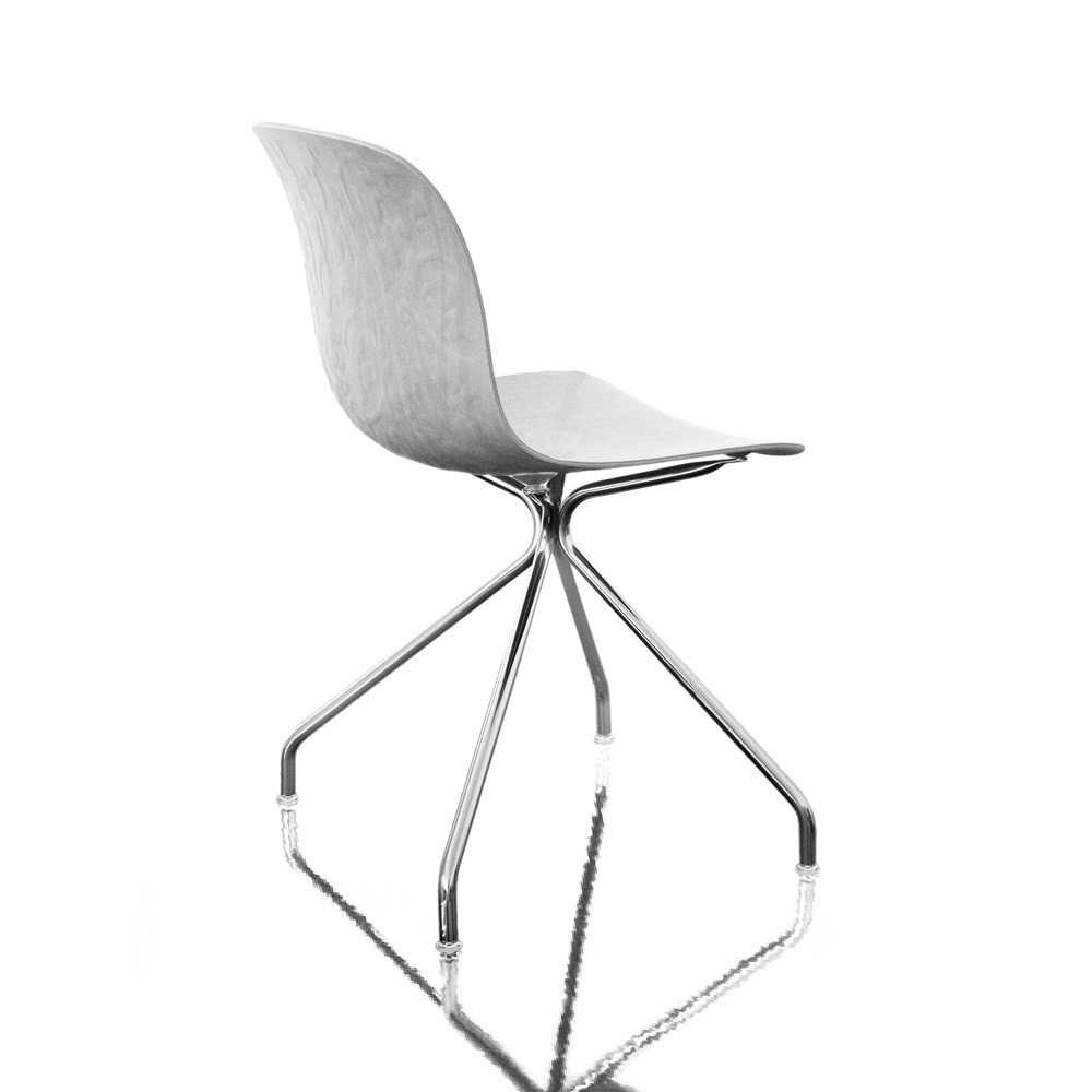 Troy Chair - 4 Star Base Chromed Frame, Bleached Beech Seat, Non-Swivel