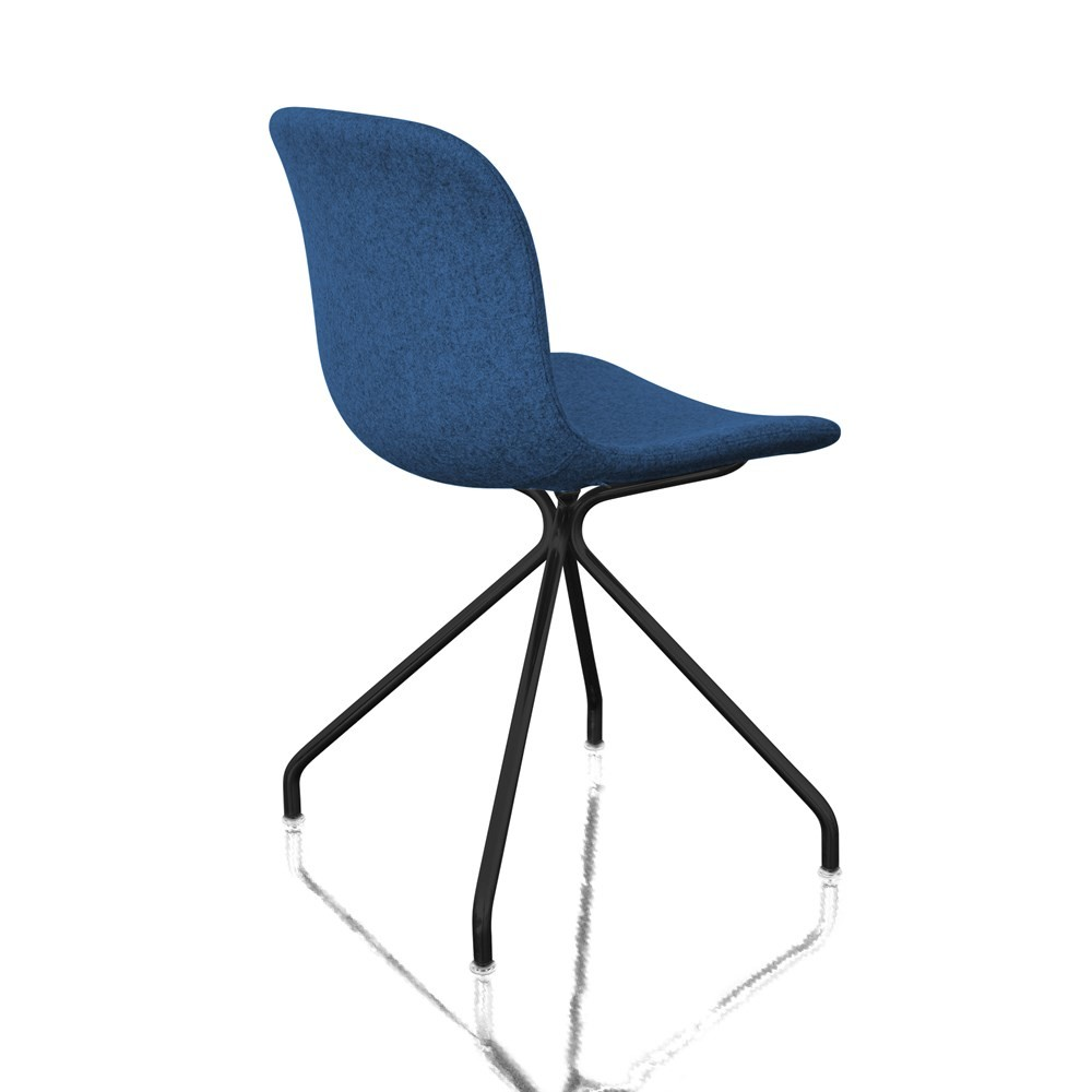 Troy Chair - 4 Star Base - Fully Upholstered Divina MD 773 Fabric and Black Base, Non-Swivel