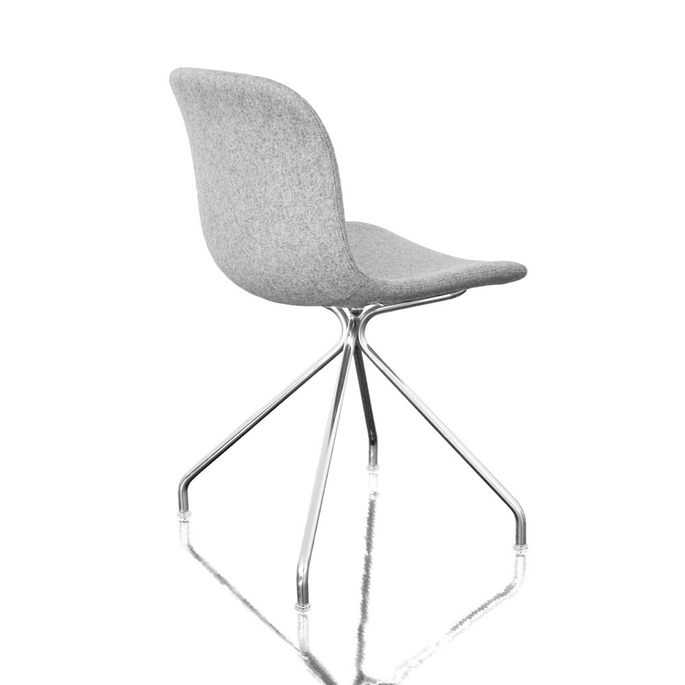 Troy Chair - 4 Star Base - Fully Upholstered Divina Melange 2 120 Fabric and Chromed Base, Non-Swive
