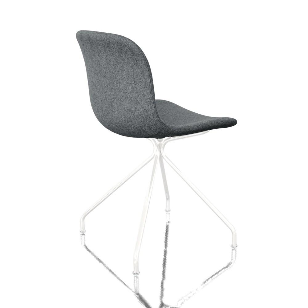 Troy Chair - 4 Star Base - Fully Upholstered Divina Melange 2 170 Fabric and White Base, Non-Swivel