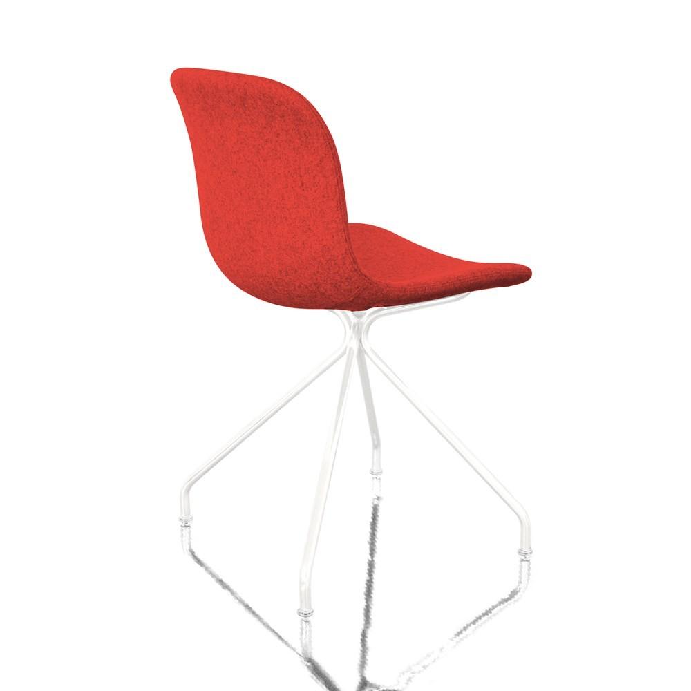Troy Chair - 4 Star Base - Fully Upholstered Divina Melange 2 531 Fabric and White Base, Non-Swivel