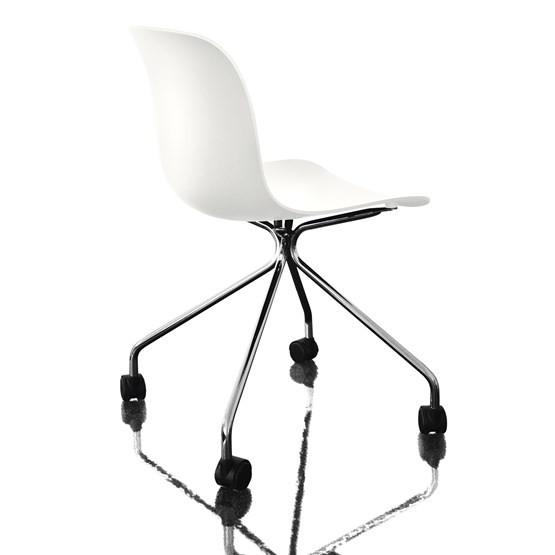 Troy Chair - 4 Star Base on Wheels Chromed Frame, White Seat