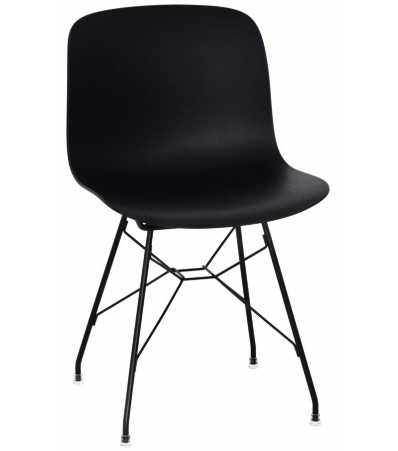 Troy Chair - Steel Rod Base Black Frame and Seat