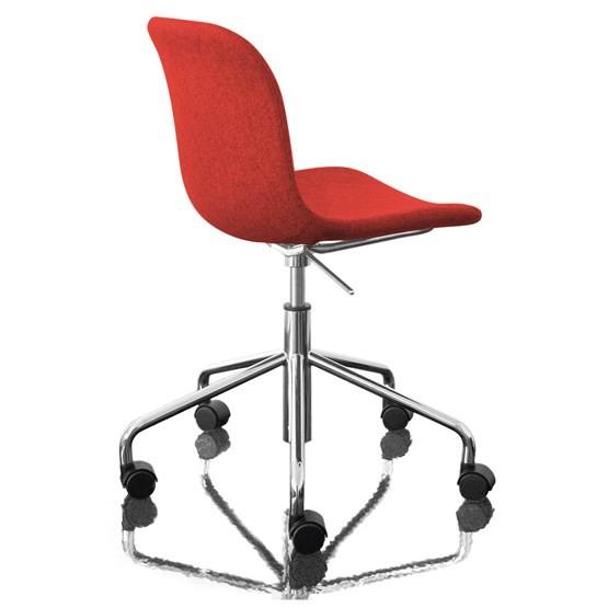 Troy Chair - Swivel Base on 5 Wheels - Fully Upholstered Divina Melange 2 531 Fabric and Chromed Bas