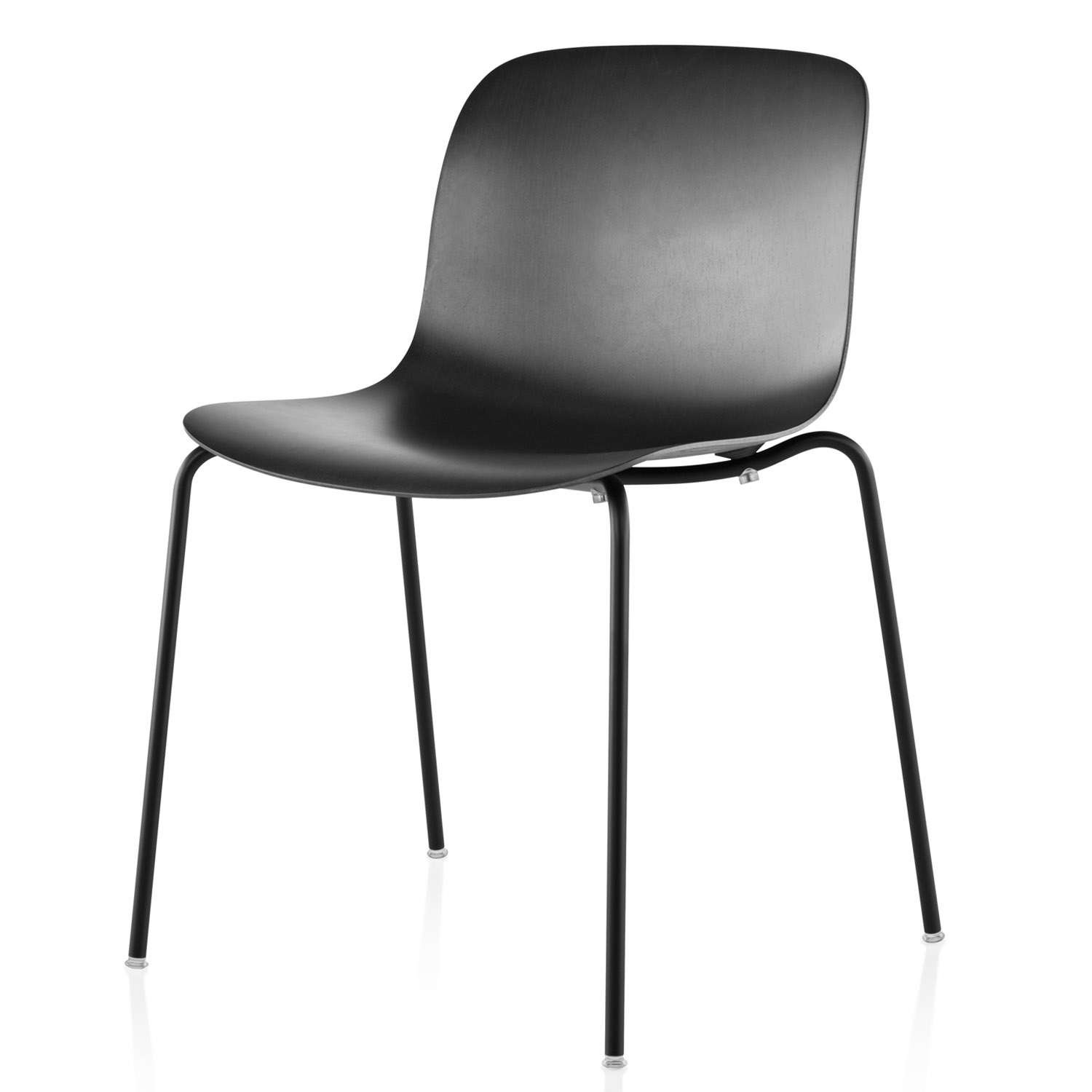 Troy Stacking Chair, 4 Legs - Set of 2 Black Frame, Beech Stained Black Seat