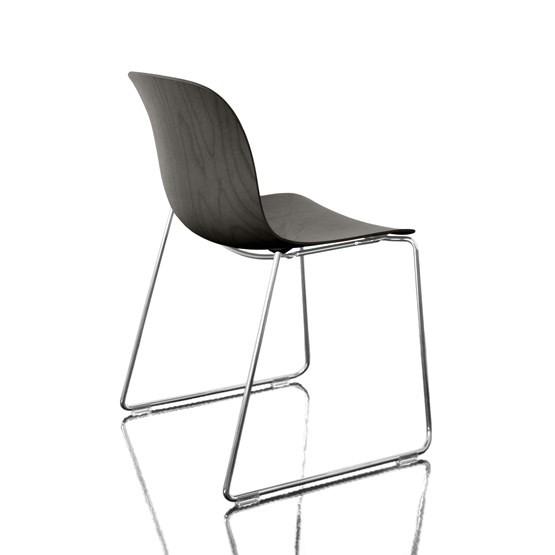 Troy Stacking Chair, Sledge Base - Set of 2 Chromed Frame, Black Beech Seat