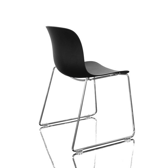 Troy Stacking Chair, Sledge Base - Set of 2 Chromed Frame, Black Seat