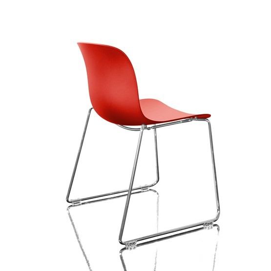 Troy Stacking Chair, Sledge Base - Set of 2 Chromed Frame, Red Seat