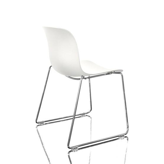 Troy Stacking Chair, Sledge Base - Set of 2 Chromed Frame, White Seat
