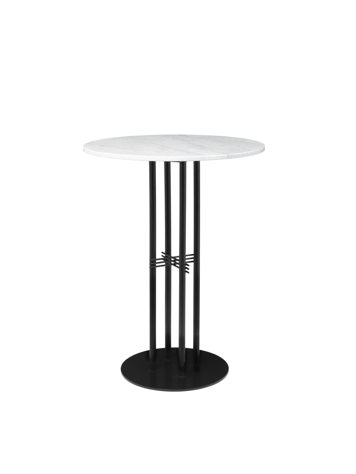 TS Column Bar Table Marble 080, Frame Matt Black, Gubi Marble Bianco Carrara