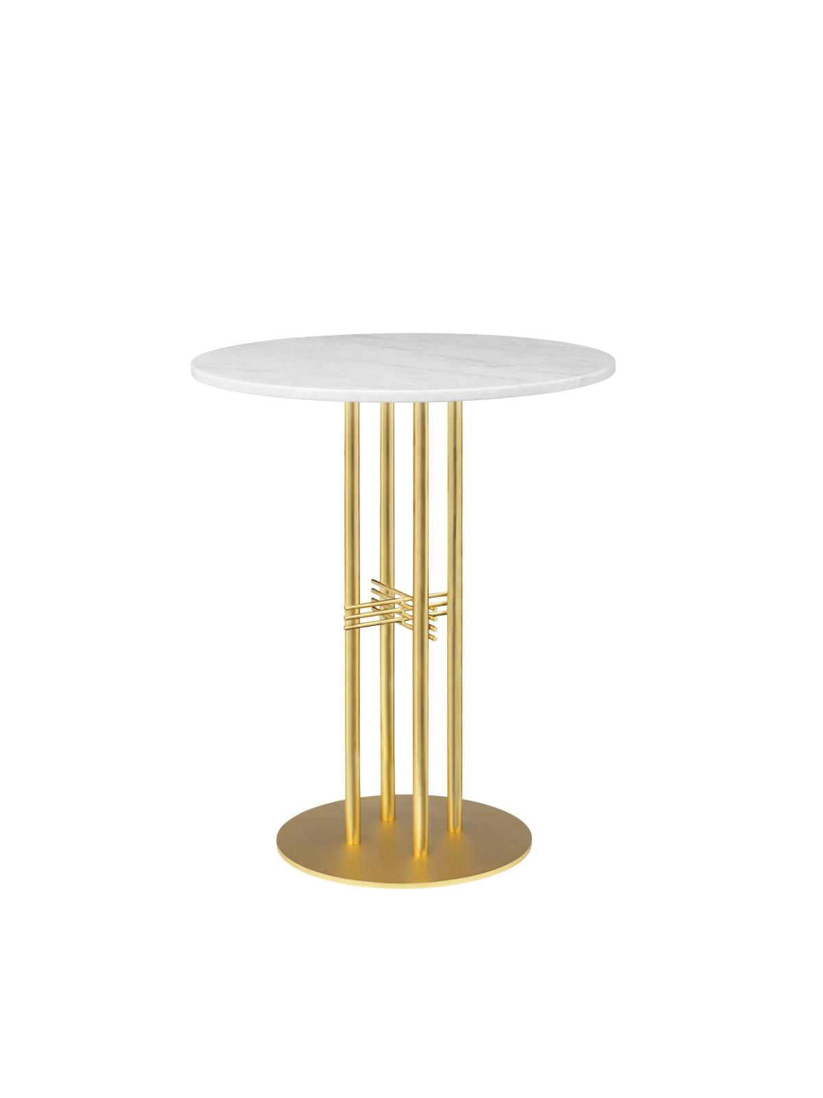 TS Column Bar Table Marble 080, Frame Brass, Gubi Marble Bianco Carrara