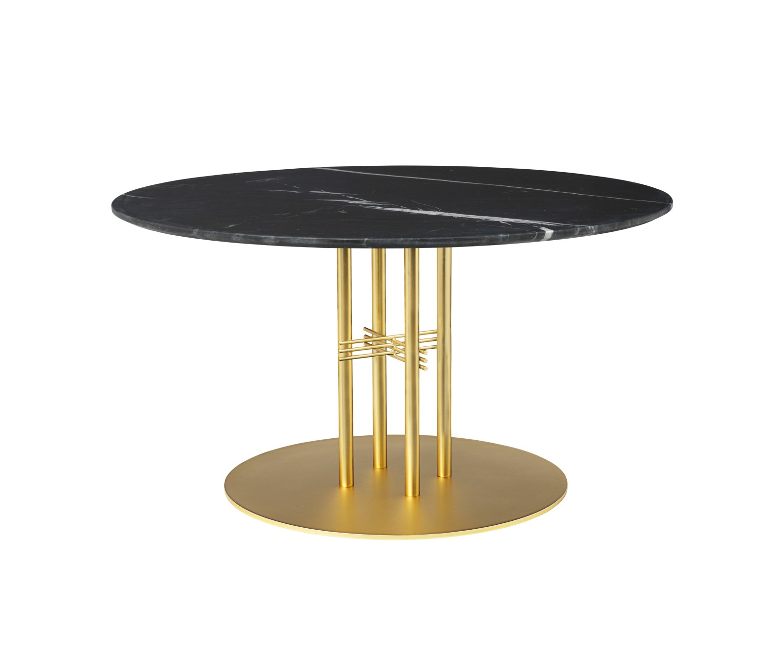 TS Column Lounge Table Marble 0110, Frame Brass, Gubi Marble Nero Marquina