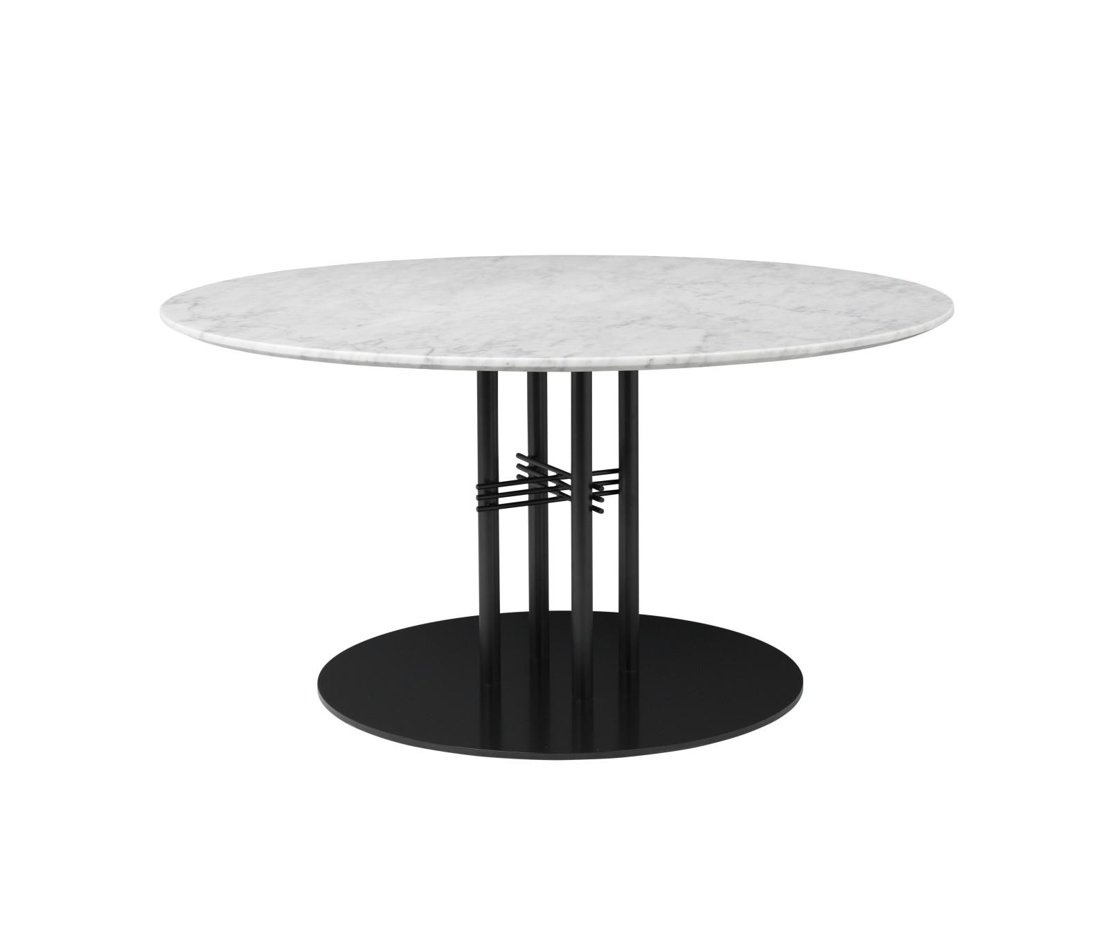 TS Column Lounge Table Marble 0110, Frame Matt Black, Gubi Marble Bianco Carrara
