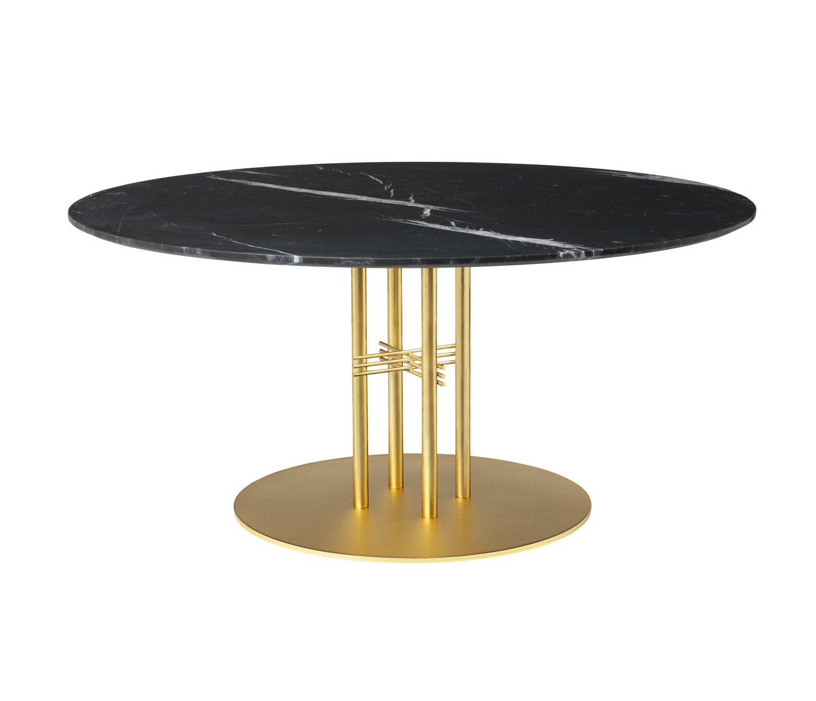 TS Column Lounge Table Marble 0130, Frame Brass, Gubi Marble Nero Marquina