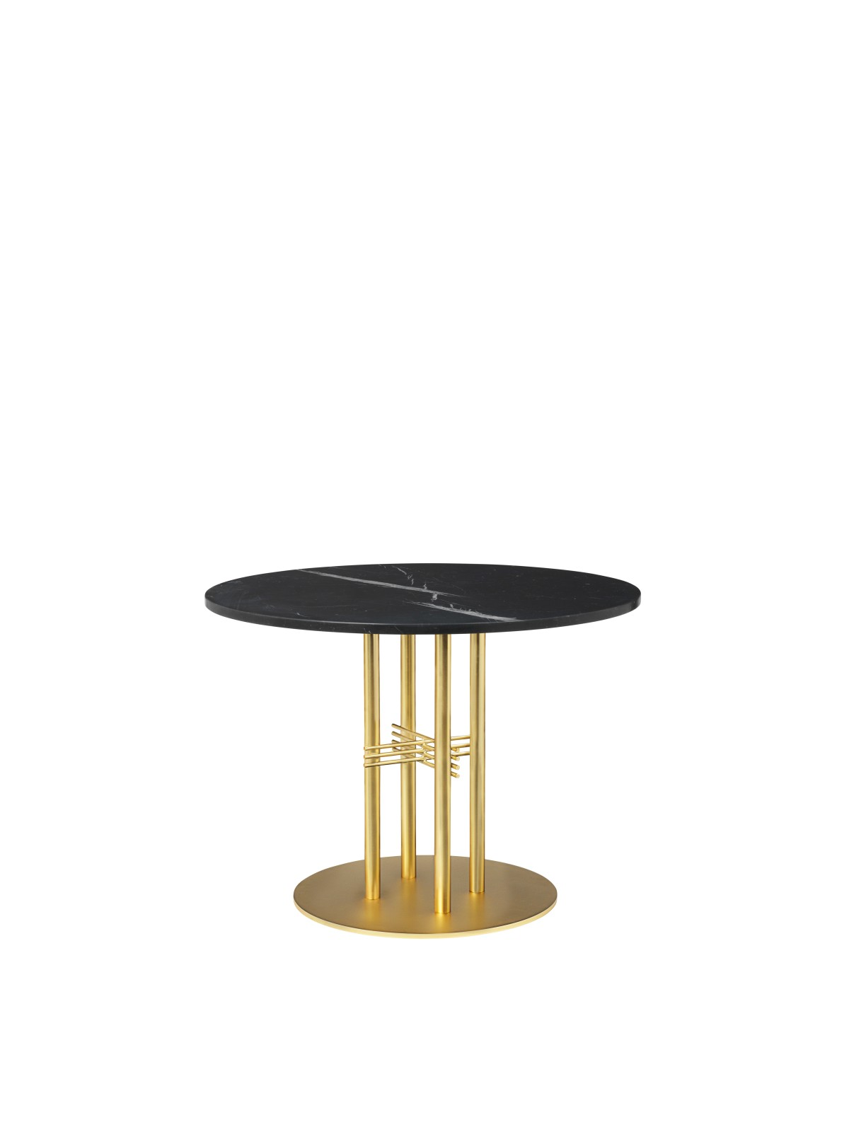 TS Column Lounge Table Marble 080, Frame Brass, Gubi Marble Nero Marquina