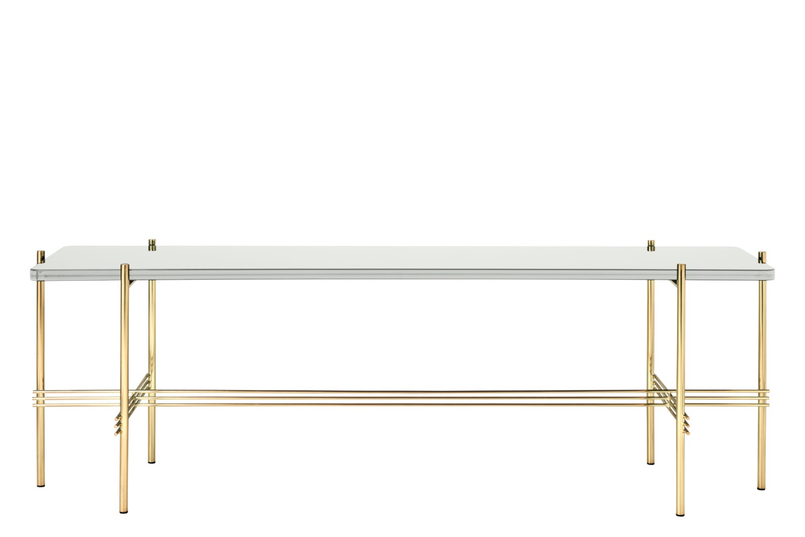 TS Rectangular Console Table with One Glass Plate Gubi Glass Oyster White, Gubi Metal Brass