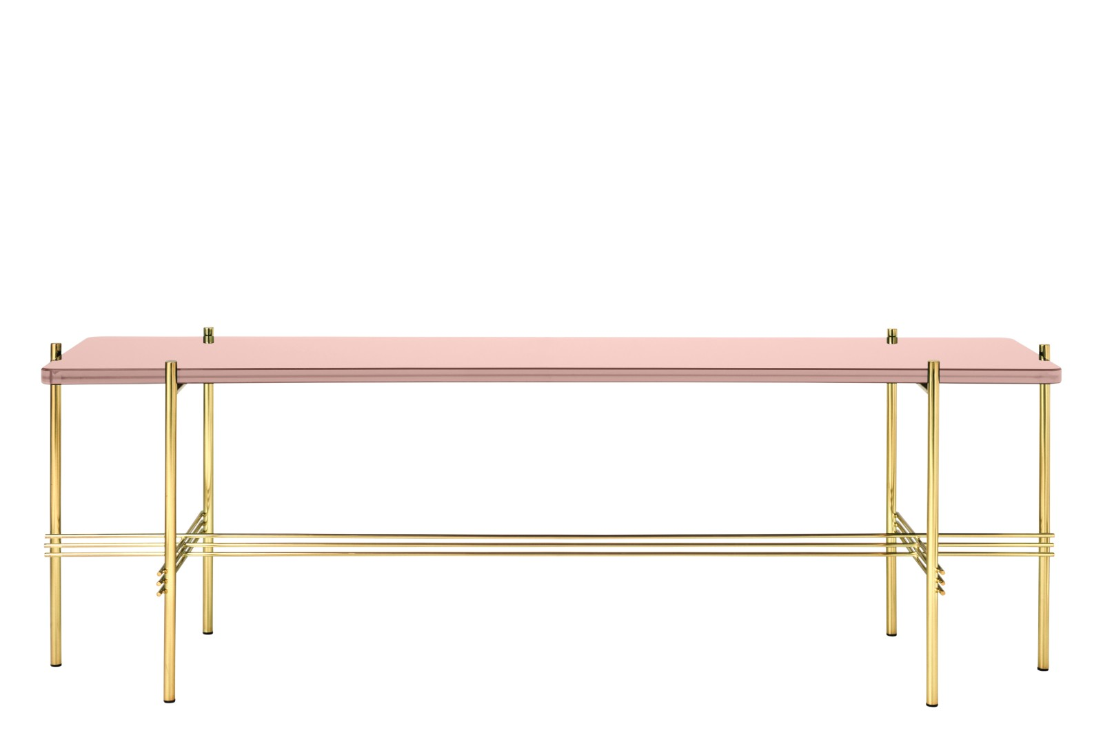 TS Rectangular Console Table with One Glass Plate Gubi Glass Vintage Red, Gubi Metal Brass thumbnail