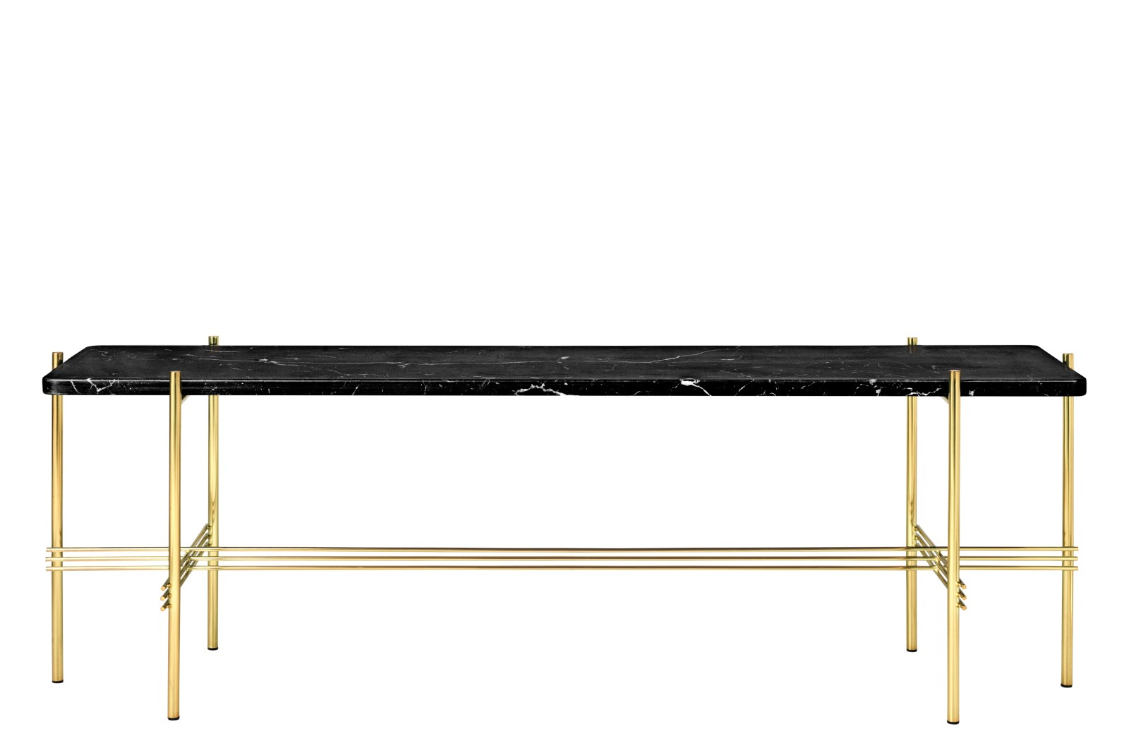 TS Rectangular Console Table with One Marble Plate Black Top and Brass Frame