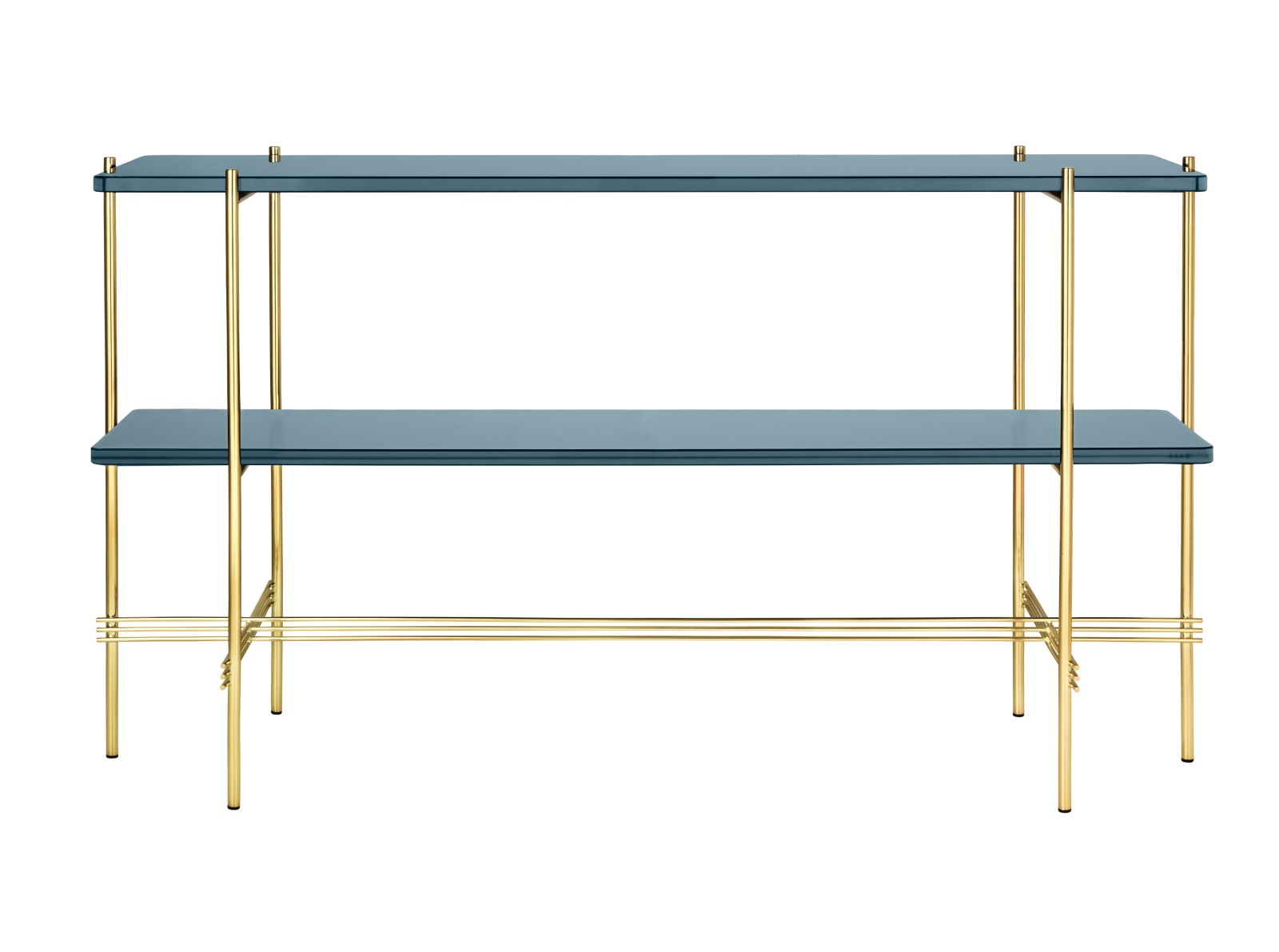 TS Rectangular Console Table with Two Glass Plates Gubi Glass Grey Blue, Gubi Metal Brass