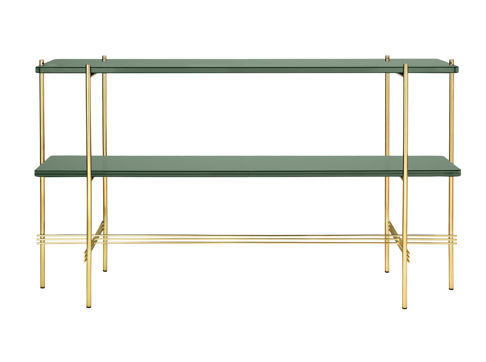 TS Rectangular Console Table with Two Glass Plates Gubi Glass Dusty Green, Gubi Metal Brass