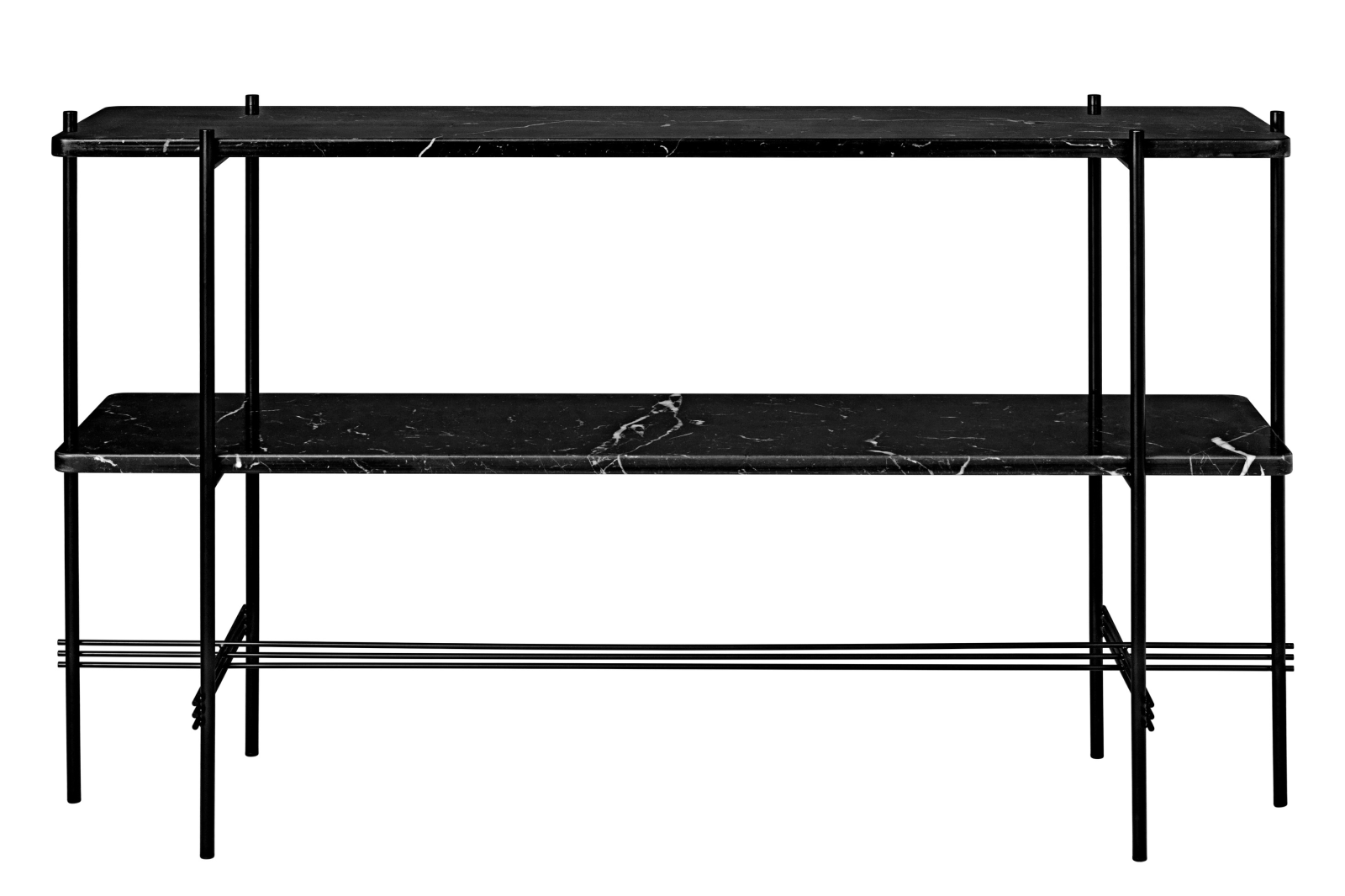 TS Rectangular Console Table with Two Marble Plates Frame Matt Black, Gubi Marble Verde Guatemala