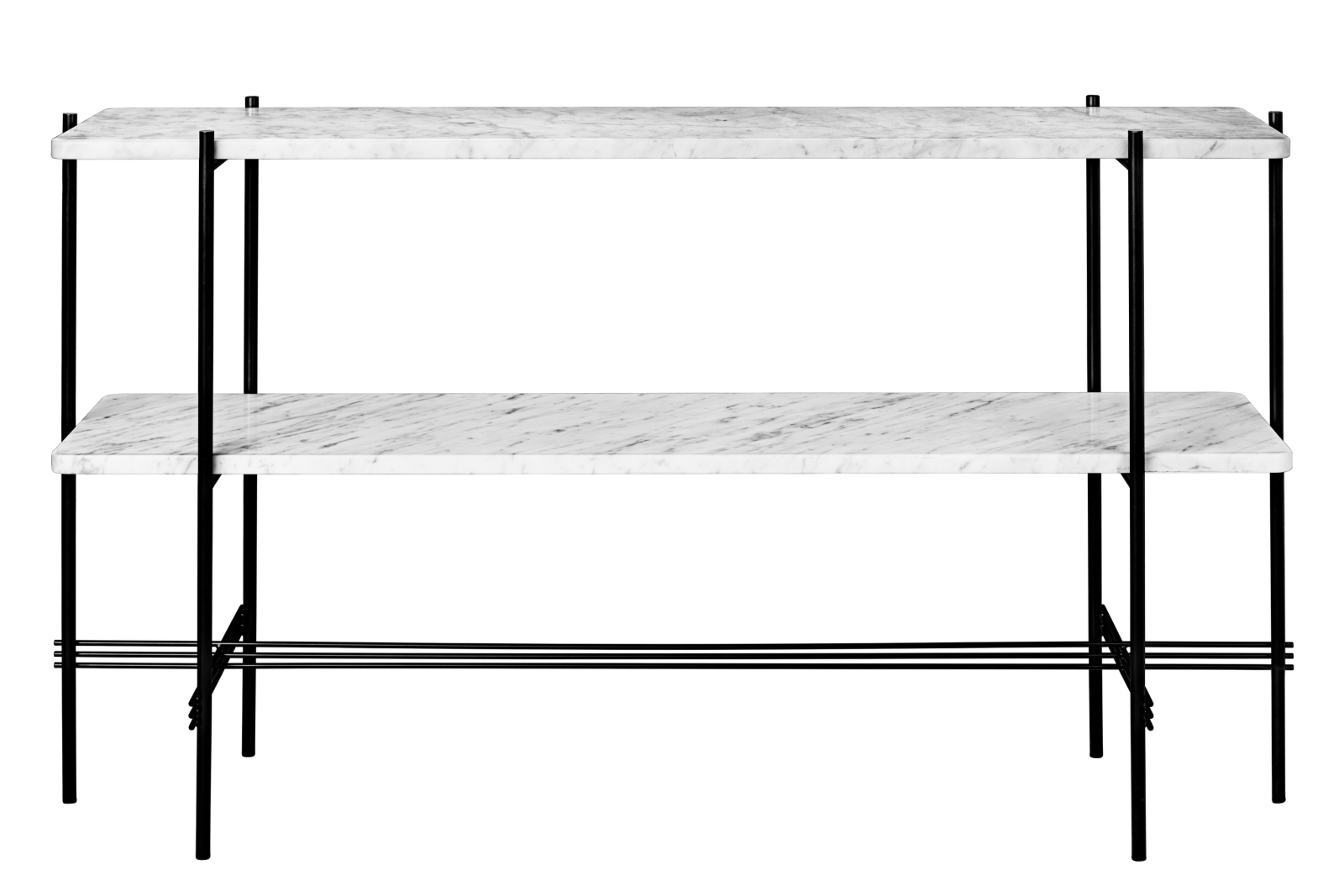 TS Rectangular Console Table with Two Marble Plates Gubi Marble Bianco Carrara, Frame Matt Black