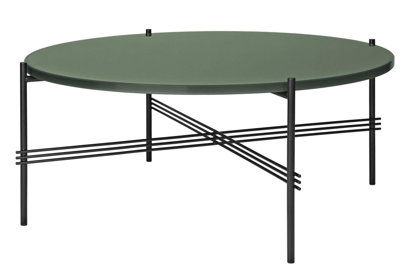 TS Round Coffee Table with Glass Top - Black Frame Dusty Green Top and Black Frame, 0 80 x 35 cm