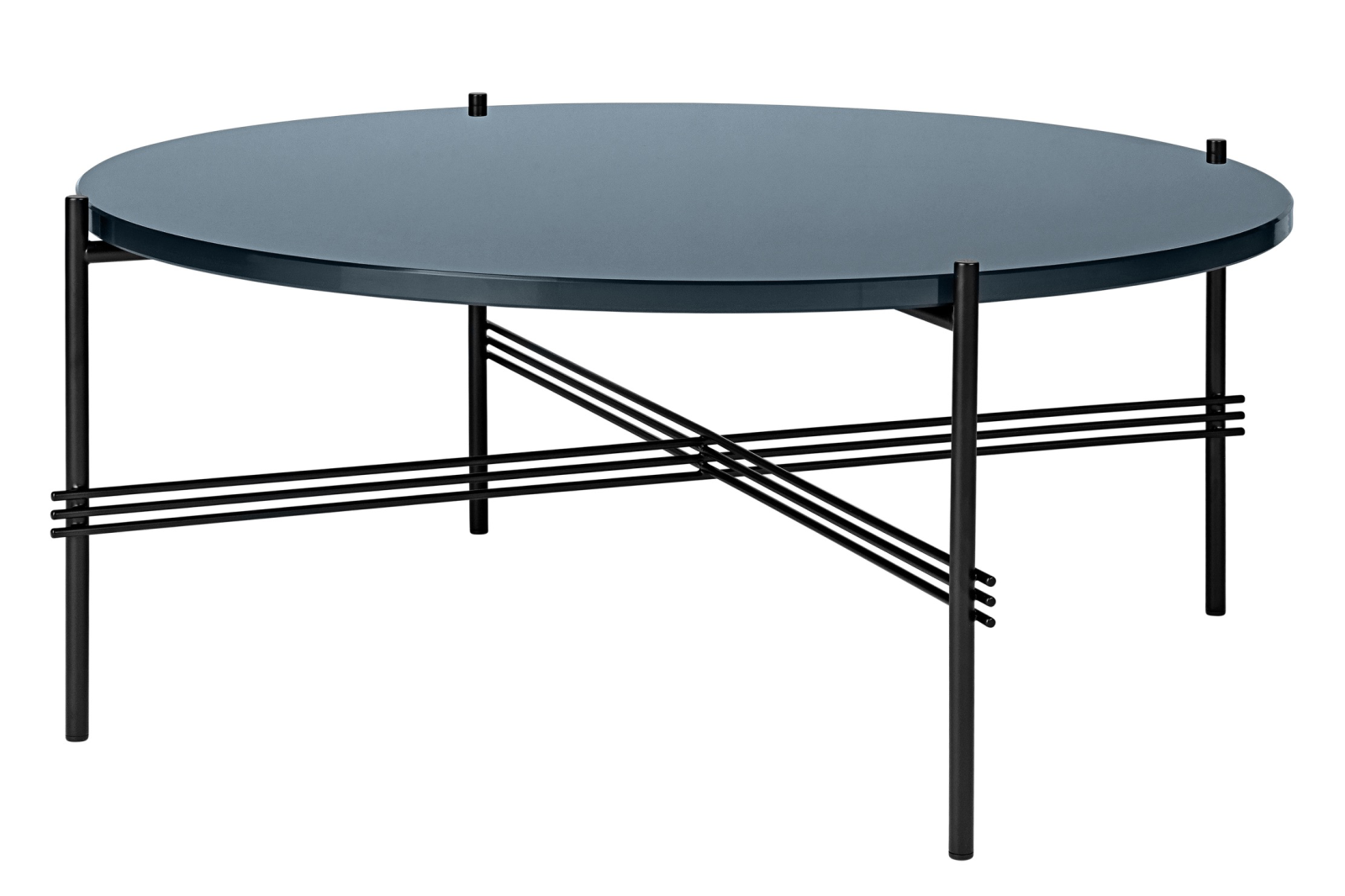 TS Round Coffee Table with Glass Top - Black Frame Grey Blue Top and Black Frame, 0 80 x 35 cm