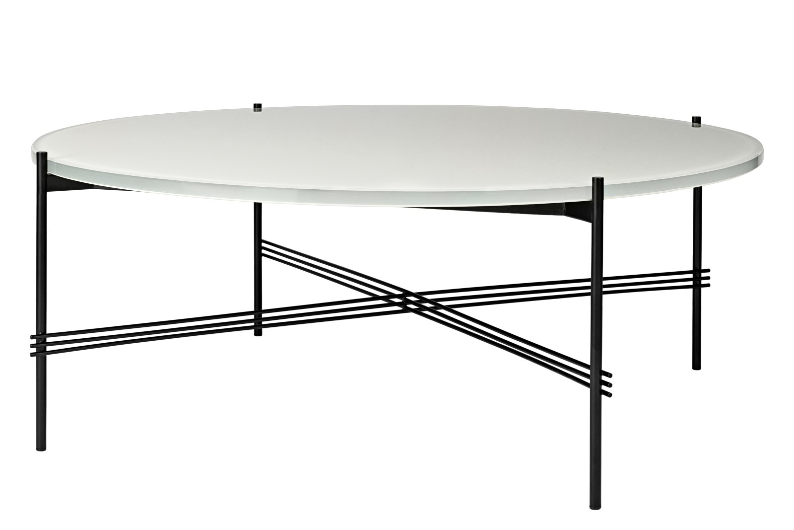 TS Round Coffee Table with Glass Top - Black Frame Oyster White Top and Black Frame, 0 105 x 40 cm