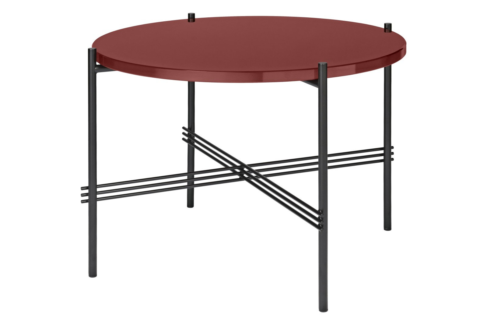 TS Round Coffee Table with Glass Top - Black Frame Rusty Red Top and Black Frame, 0 55 x 41 cm