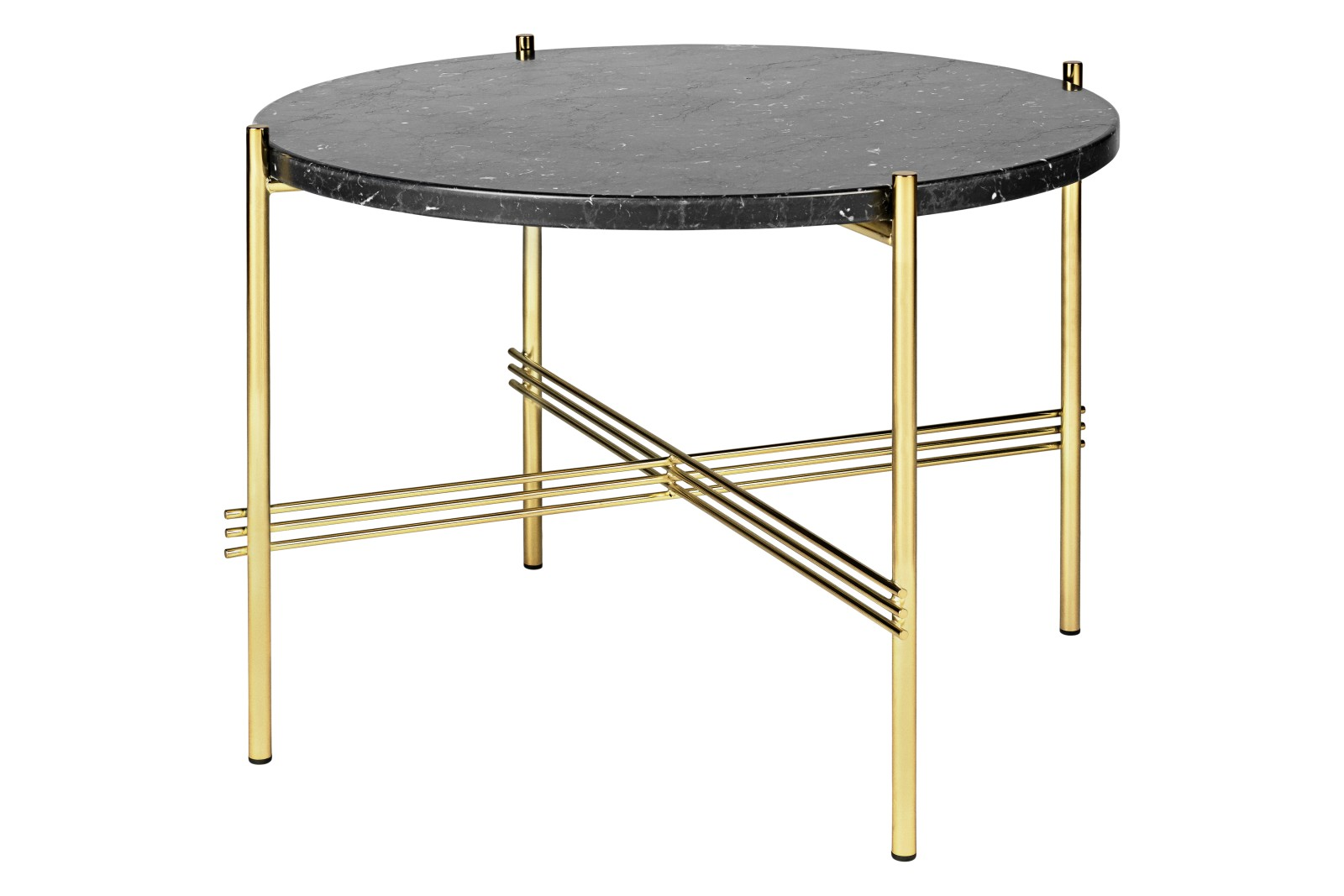 TS Round Coffee Table with Marble Top in Black Frame Gubi Marble Nero Marquina, Gubi Metal Brass, 05