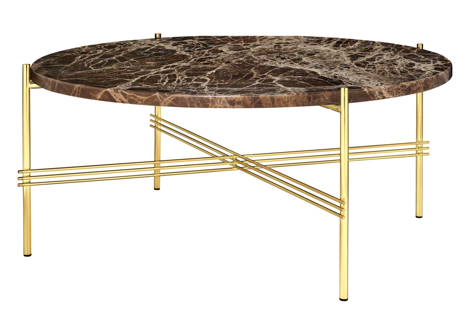 TS Round Coffee Table with Marble Top in Black Frame Gubi Marble Marrone Emperador, Gubi Metal Brass