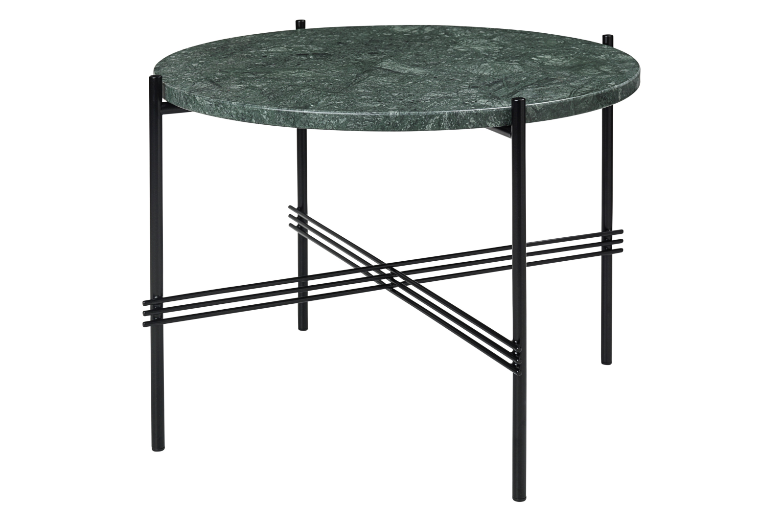 TS Round Coffee Table with Marble Top in Black Frame Gubi Marble Verde Guatemala, Gubi Metal Black,
